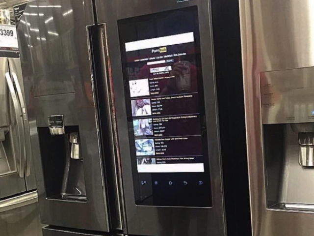 Pornhub appearing on a Samsung fridge near you