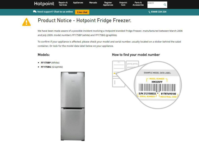 Hotpoint FF175BP fridge freezer safety notice