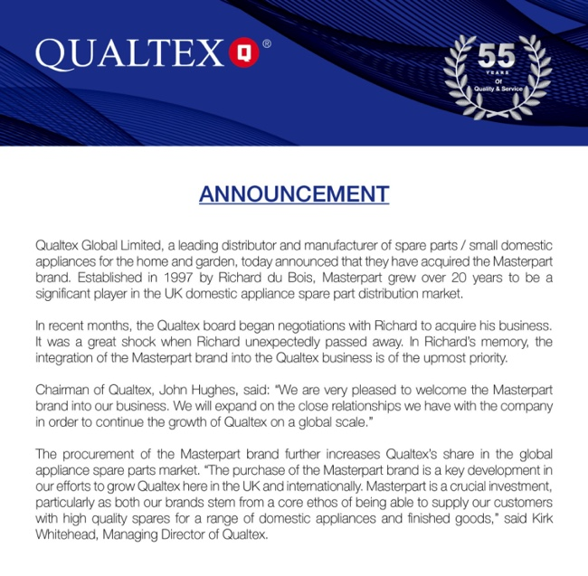 Qualtex takes over Masterpart