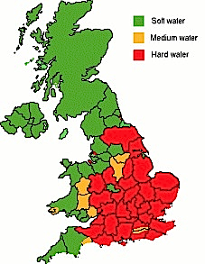 A map showing the water hardness across the UK
