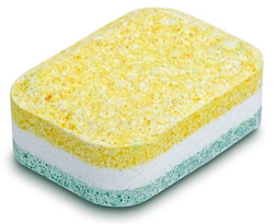 A typical dishwasher soap tablet