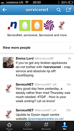 Service Net customer feedback that seems to have been removed from their Twitter feed