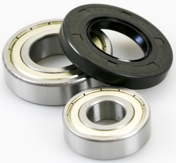 A typical set of bearings with water seal to fit washing machine and washer dryer models from Whirlpool