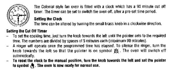 Oven timer or clock diagram, of instructions
