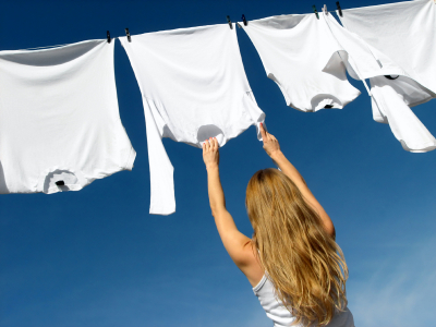 Nice white washing being hung out to dry