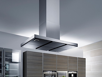 A typical stainless steel island cooker hood