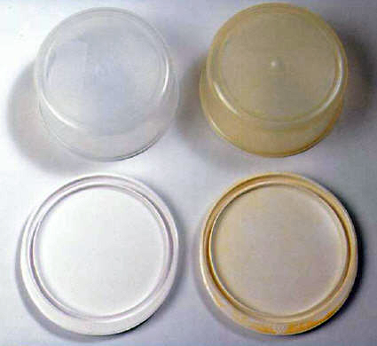 Plastic items turning yellow or brown in a dishwasher