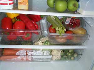 Condensation in a fridge caused by a large amount of fresh vegetables