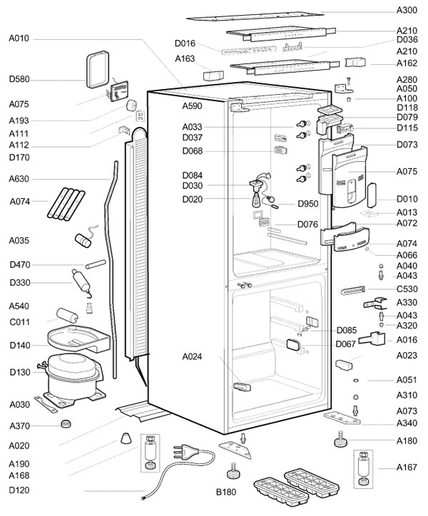 understanding frost refrigeration blowout diagram showing the main view of the fridge zer