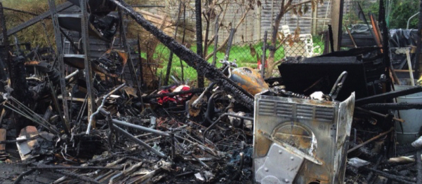 Garden shed burnt down, probably by the tumble dryer