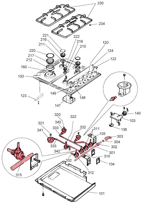 gas hob spare parts identification helpblow out diagram of gas hob to show spar parts
