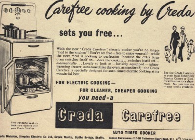 An advert for an old Creda Carefree cooker