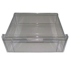 A plastic freezer storage drawer