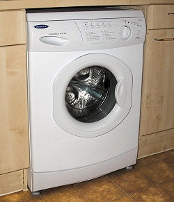 A typical installation of a freestanding washing machine