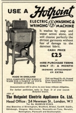 Old 1930's advert for a Hotpoint washing machine