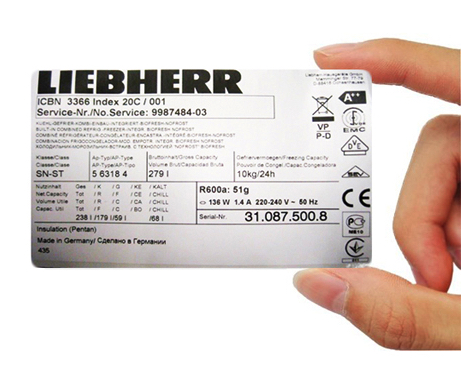 Liebherr rating plate